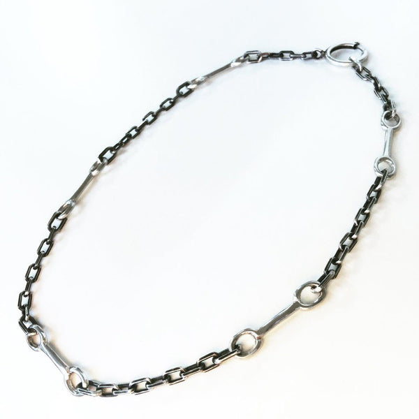 Bit Chain Silver and Oxidized Silver Necklace