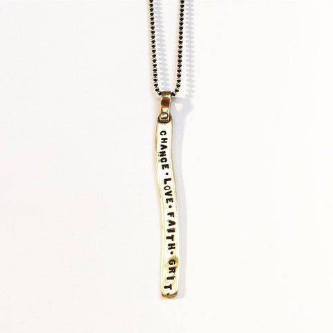 Chance Love Faith Grit Necklace in Bronze