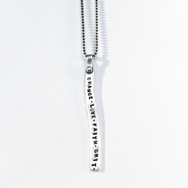 Chance Love Faith Grit Necklace in Silver