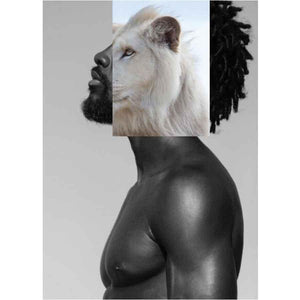 Naro Pinosa White Lion Black Man Postcard