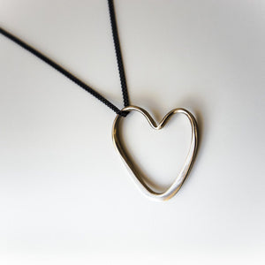 Open Heart Necklace in Bronze