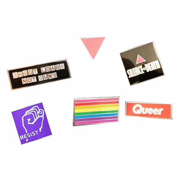 Queer pin pack adams nest pink triangles silence equals death shoot loads not guns gilbert baker rainbow resist fist pins