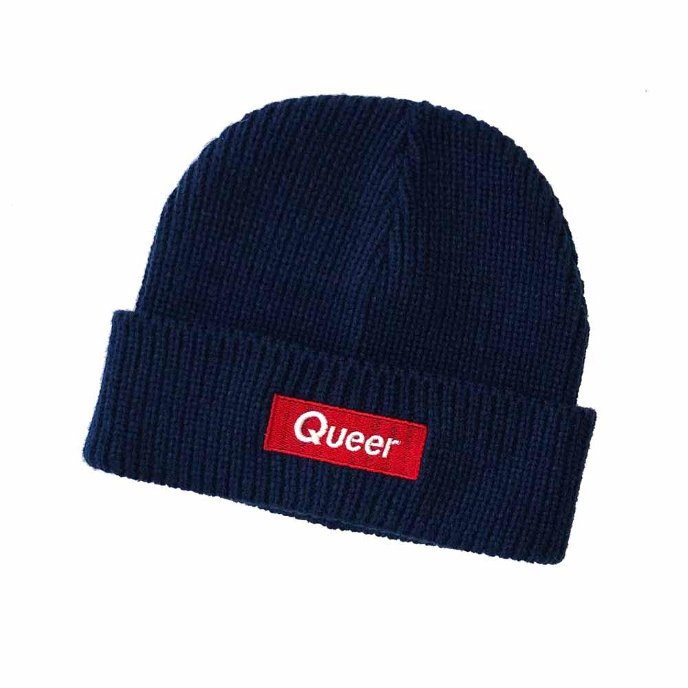 Queer knit beanie Watch Cap adams nest NAVY