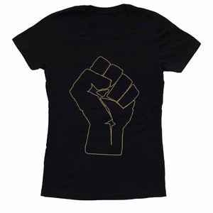 solidarity fist aclu women t-shirt black resist and persist