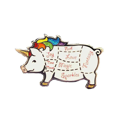 unipig hard enamel lapel pin pig rainbow