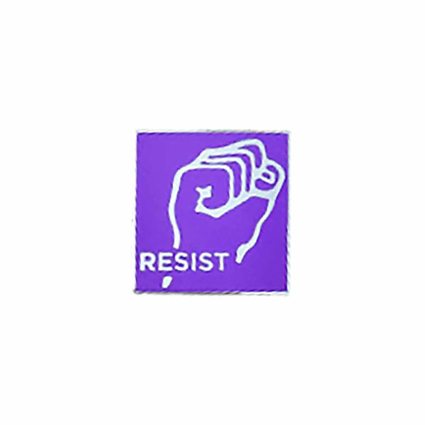 lavender fist resist enamel pin