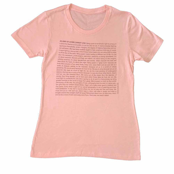 army of lovers womens t-shirt anonymous queers read this