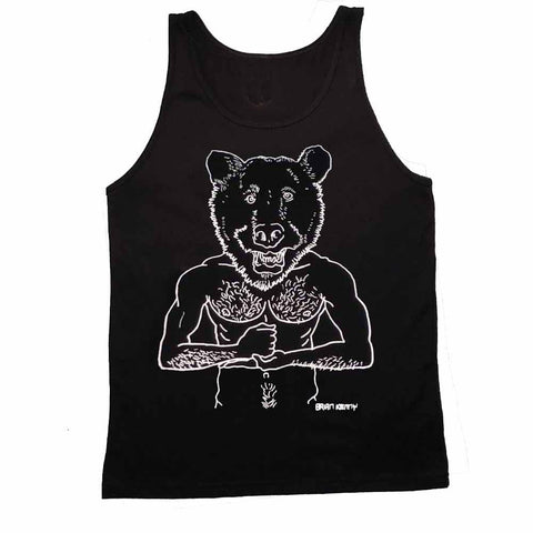 Brian Kenny Bear Head Graphic Tank Adam's Nest Black