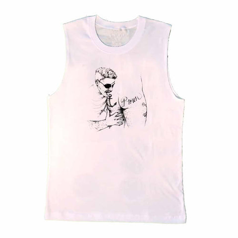 Ptown Butt Pirate Sleeveless T-shirt in White