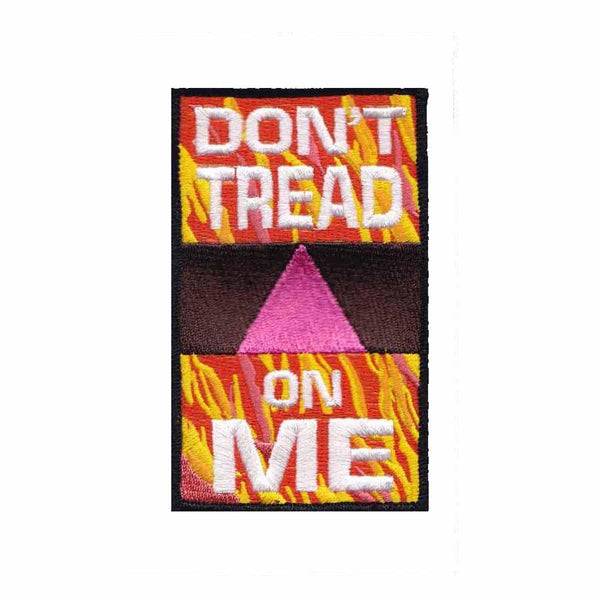 """don't tread on me"" anonymous queer pink triangle fire flame patch"