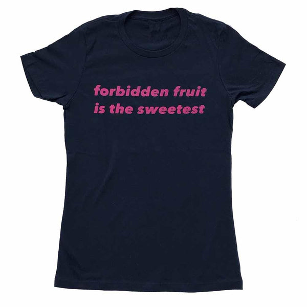 forbidden fruit is the sweetest women t-shirt navy