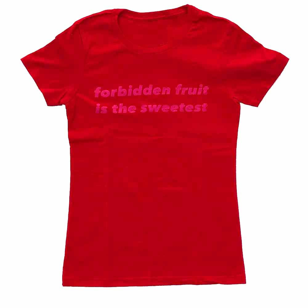 forbidden fruit is the sweetest women t-shirt red