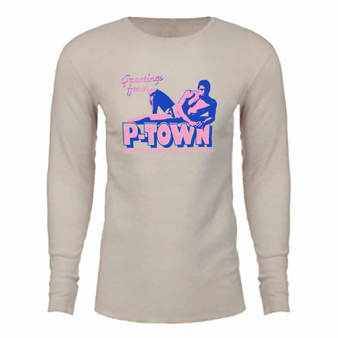 Greetings From P-town Long Sleeve Thermal T-shirt adam's nest SAND