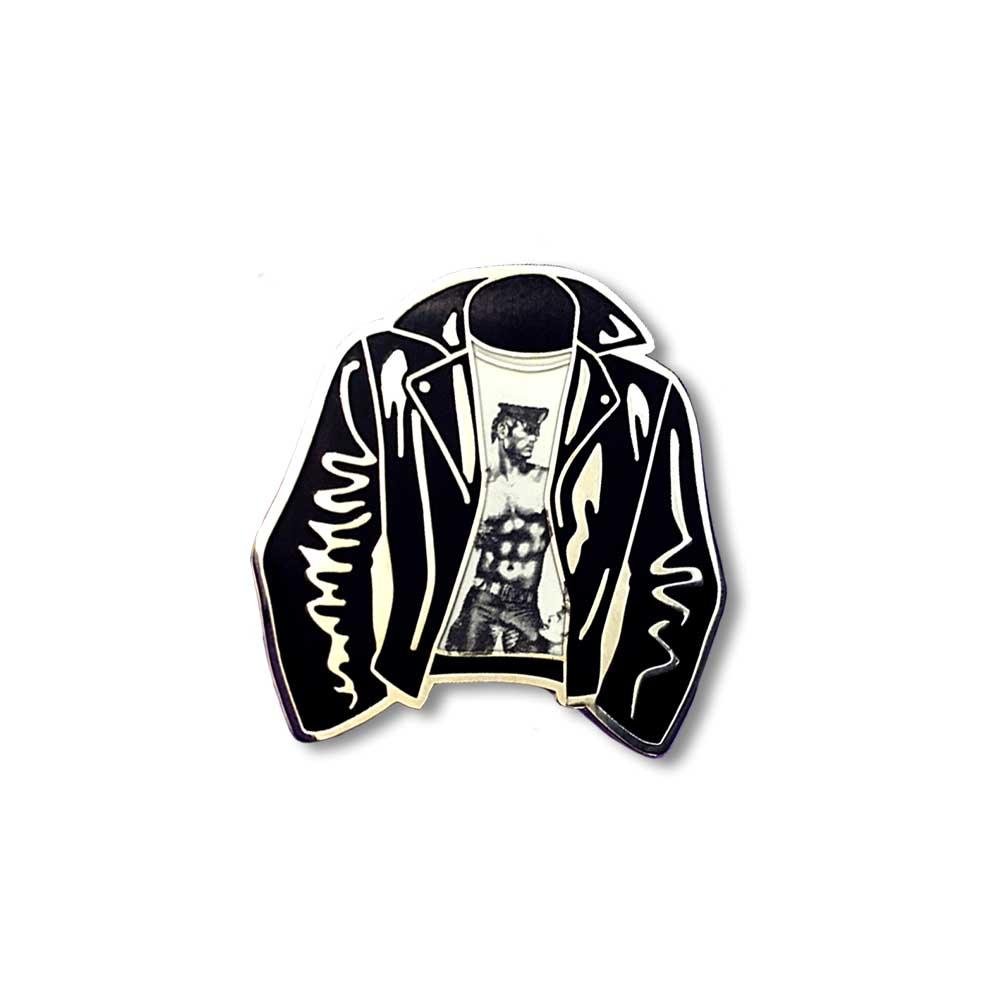 Tom of Finland Leather Motorcyle Jacket enamel lapel pin Gaypin' guys