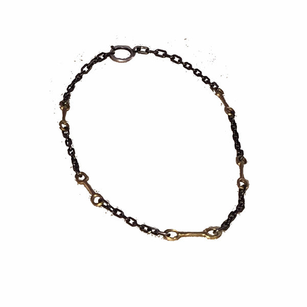 Bit Chain Bronze and Oxidized Silver Necklace long