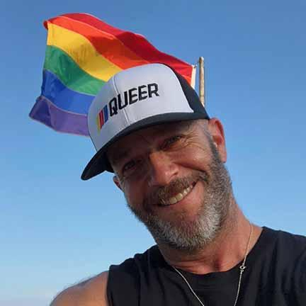 Stripe Queer Trucker Mesh Snapback Hat