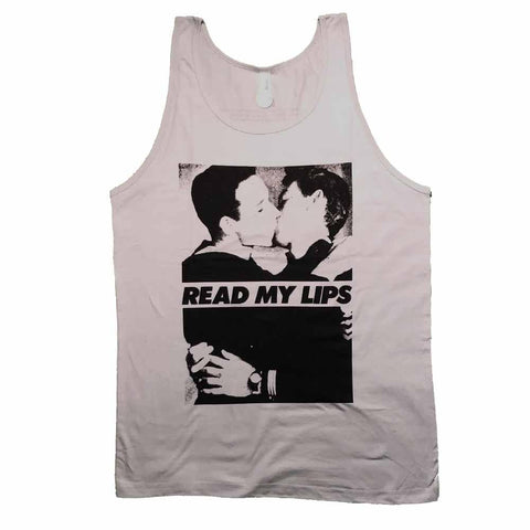 Read My Lips Men kissing gran fury vintage photo Tank Supporting Rainbow Railroad