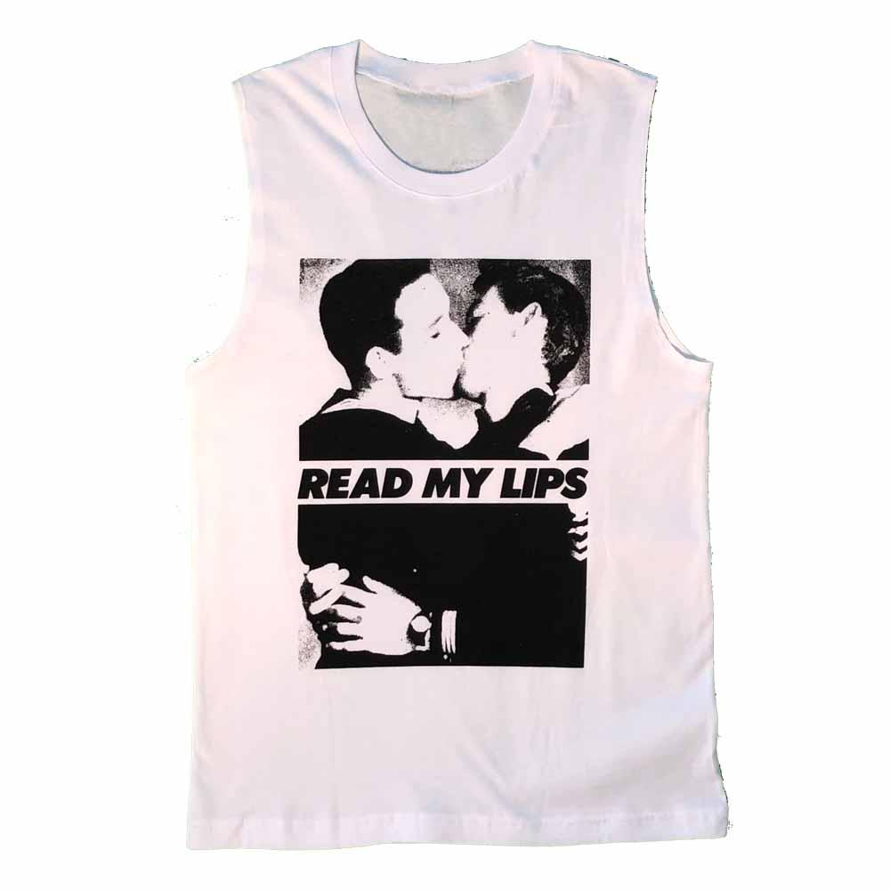 Gran Fury Read My Lips Men Sleeveless T-shirt vintage photo sailors kissing