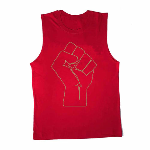 solidarity fist red sleeveless t-shirt