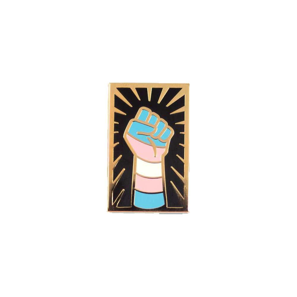 Trans resist fist enamel lapel pin Gaypin' guys