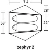 Alps Mountaineering 2018 Zephyr 2 Tent Size and Dimensions