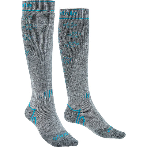 Bridgedale Midweight+ Women's Ski Sock Stone Grey Front and Side