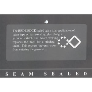 The Red Ledge Free Rein Parka sealed seam is an application of seam tape or seam-sealing glue along a garment's stitch line. Seam welding replaces the need for a stitched seam. This process prevents water from entering the garment.