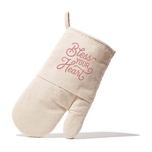 Texas Oven Mitt with Bless Your Heart Design in Natural Quilted Cotton