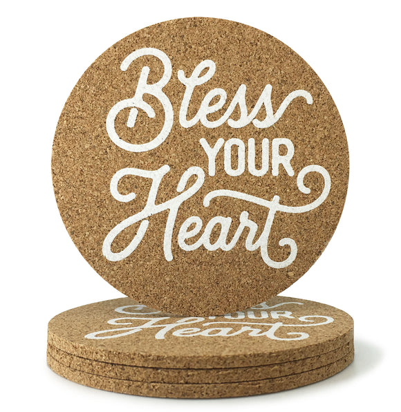 Bless Your Heart Texas Cork Coasters 3.5 Inch Coasters - Set of 4 - MSRP $10.99
