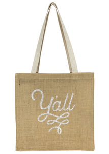 Texas Tote Bag with Y'all Design in Burlap and Canvas Texas Gift