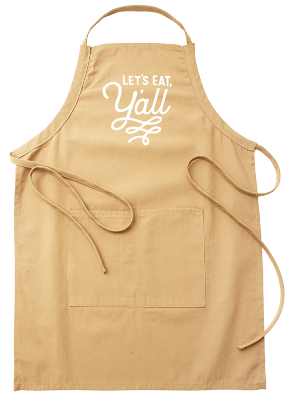 Let's Eat Y'all Khaki Texas Apron with Pockets Texas Gift  - MSRP $27.99