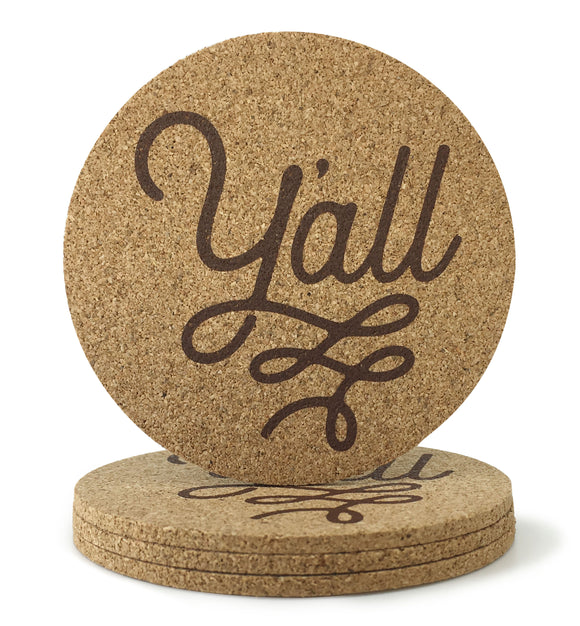 Y'all Texas Cork Coasters 3.5 Inch Coasters - Set of 4 - MSRP $10.99