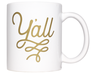 Y'all Texas Coffee Mug Gold Design 11 oz Mug - MSRP $10.99