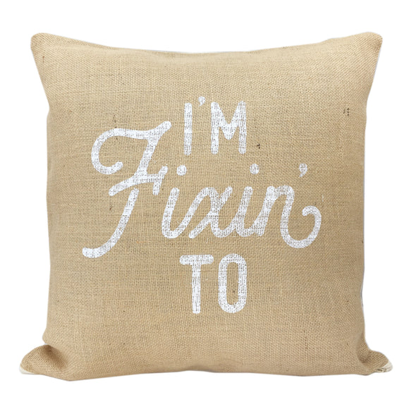 Burlap Texas Pillow Cover I'm Fixin' To Design - 18 Inch - MSRP $27.99