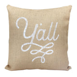 Burlap Texas Pillow Cover Y'all Design - 18 Inch - MSRP $27.99
