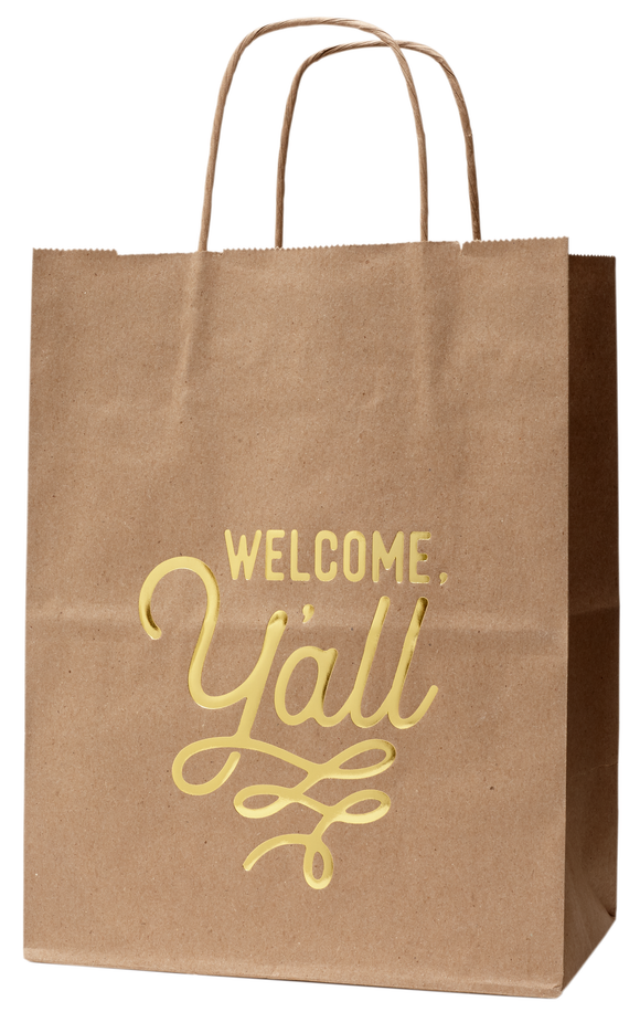 Welcome Gift Bag with Welcome, Y'all Design Kraft Bag - Set of 6