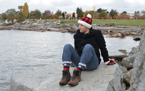 Pudus Men's Gift Ideas - Lumberjack Red Hat, Fingerless Mittens and Boot Socks