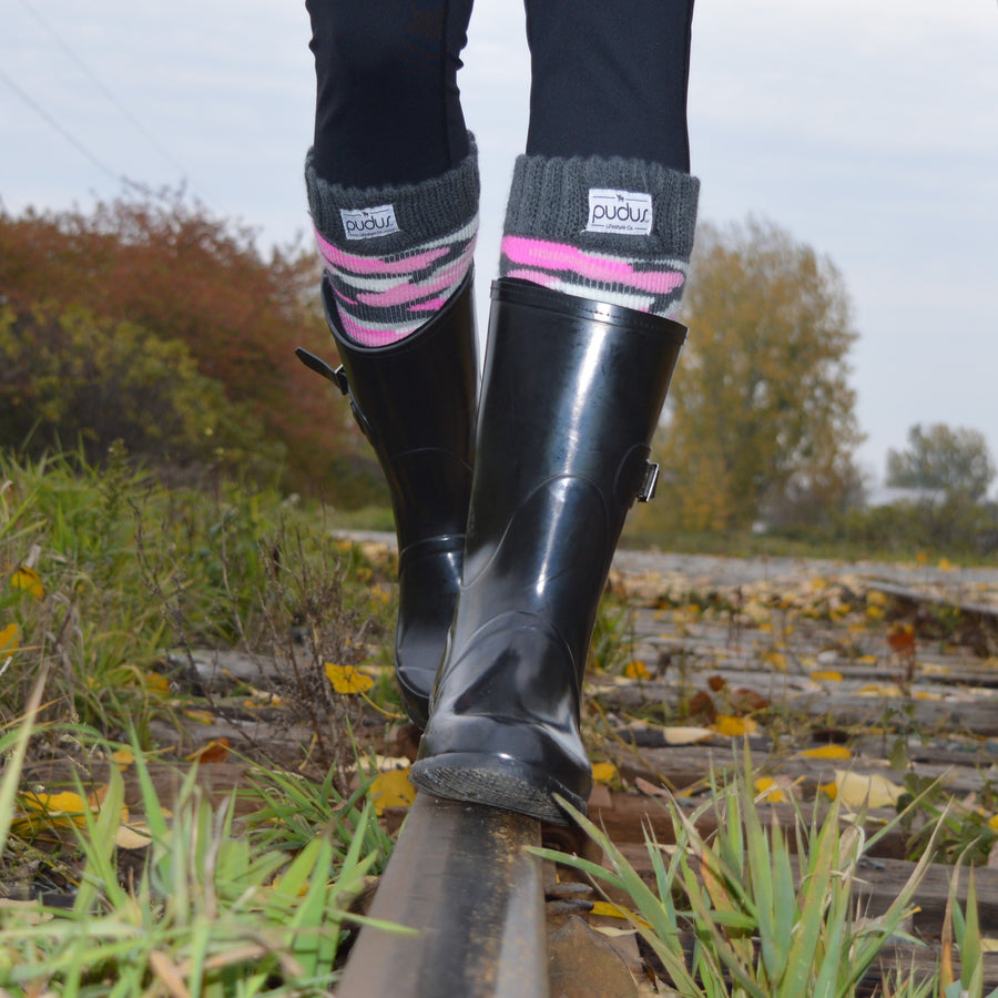 Boot Sock Camo Pink Adult Tall