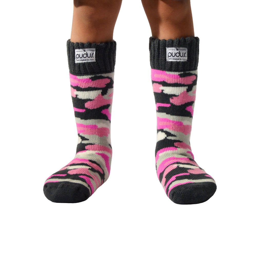 Boot Sock Camo Pink Kid Tall