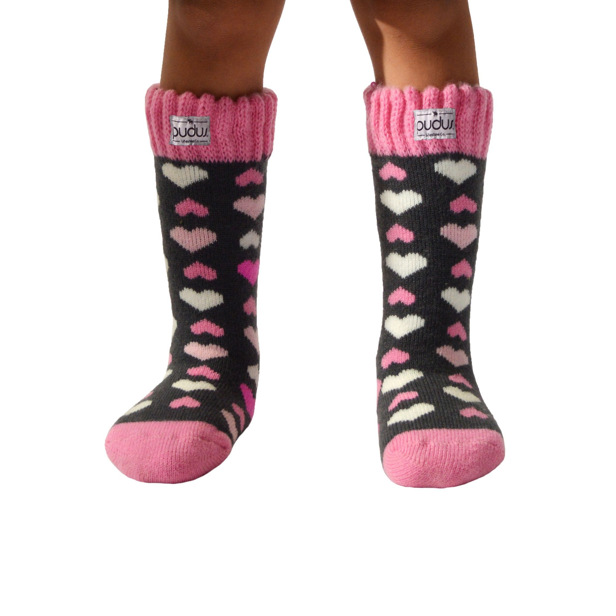 Pudus Kids Warm Boot Socks (Ages 4-7), Tall Winter Socks for Boys and Girls (Perfect Thermal Socks for Rain Boots, Snow Shoes and Hiking Boots) Boot Sock Heart Pink Kid Tall