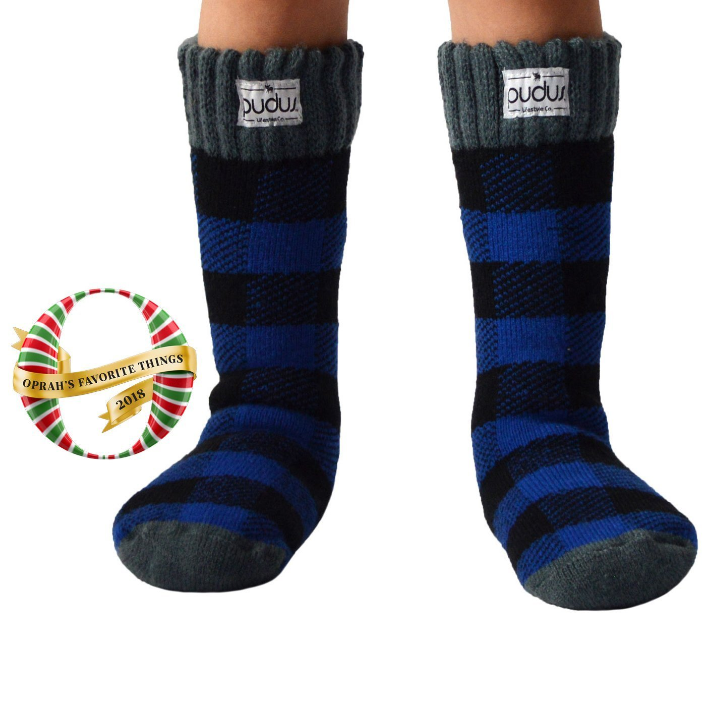Pudus Kids Warm Boot Socks (Ages 4-7), Tall Winter Socks for Boys and Girls (Perfect Thermal Socks for Rain Boots, Snow Shoes and Hiking Boots) Boot Sock Lumberjack Blue Kid Tall