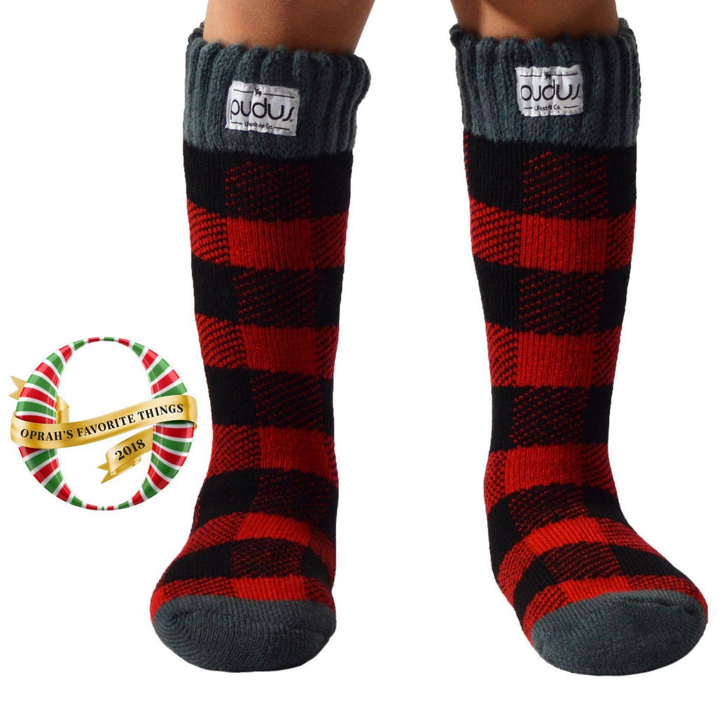 Pudus Kids Warm Boot Socks (Ages 4-7), Tall Winter Socks for Boys and Girls (Perfect Thermal Socks for Rain Boots, Snow Shoes and Hiking Boots) Boot Sock Lumberjack Red Kid Tall