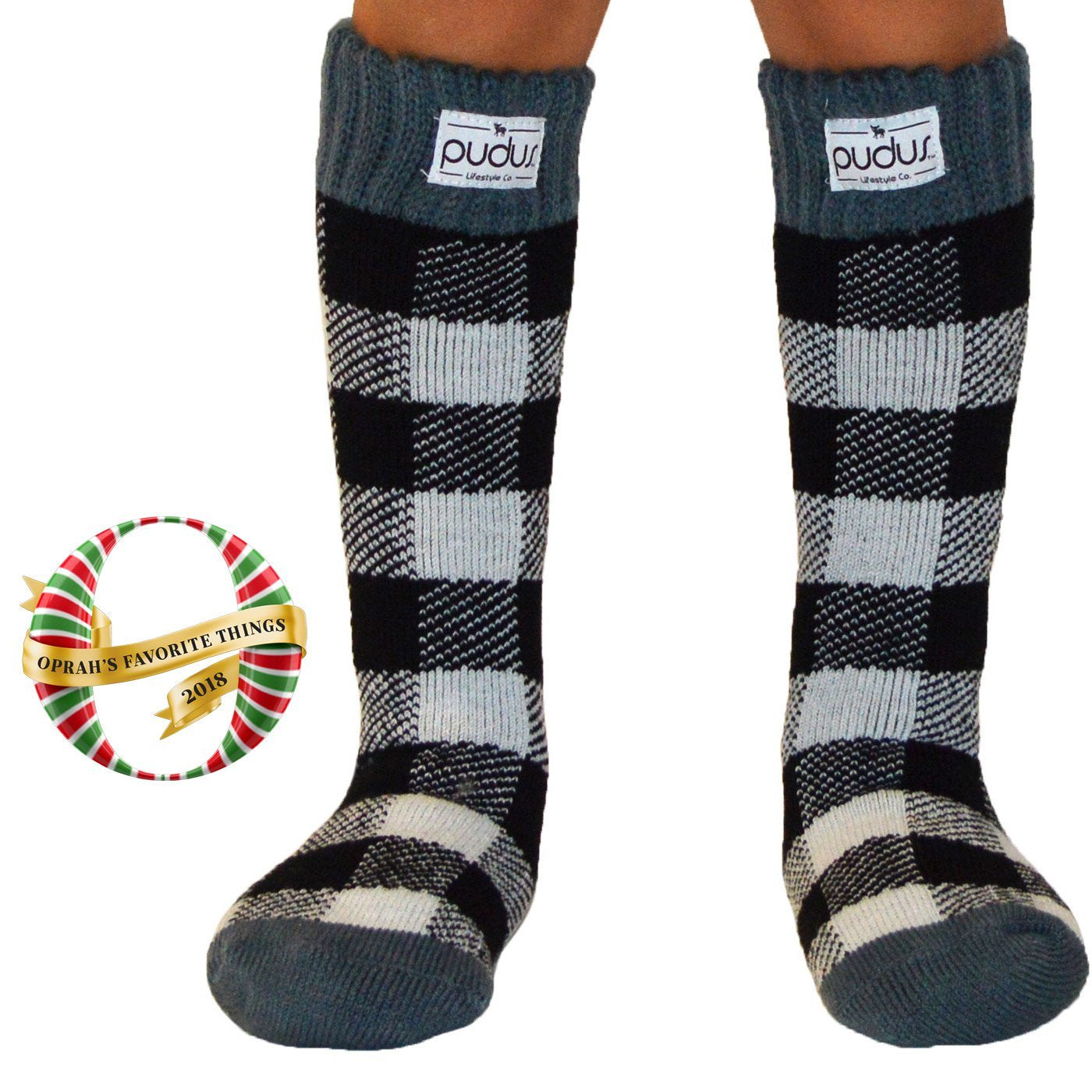 Pudus Kids Warm Boot Socks (Ages 4-7), Tall Winter Socks for Boys and Girls (Perfect Thermal Socks for Rain Boots, Snow Shoes and Hiking Boots) Boot Sock Lumberjack White Kid Tall