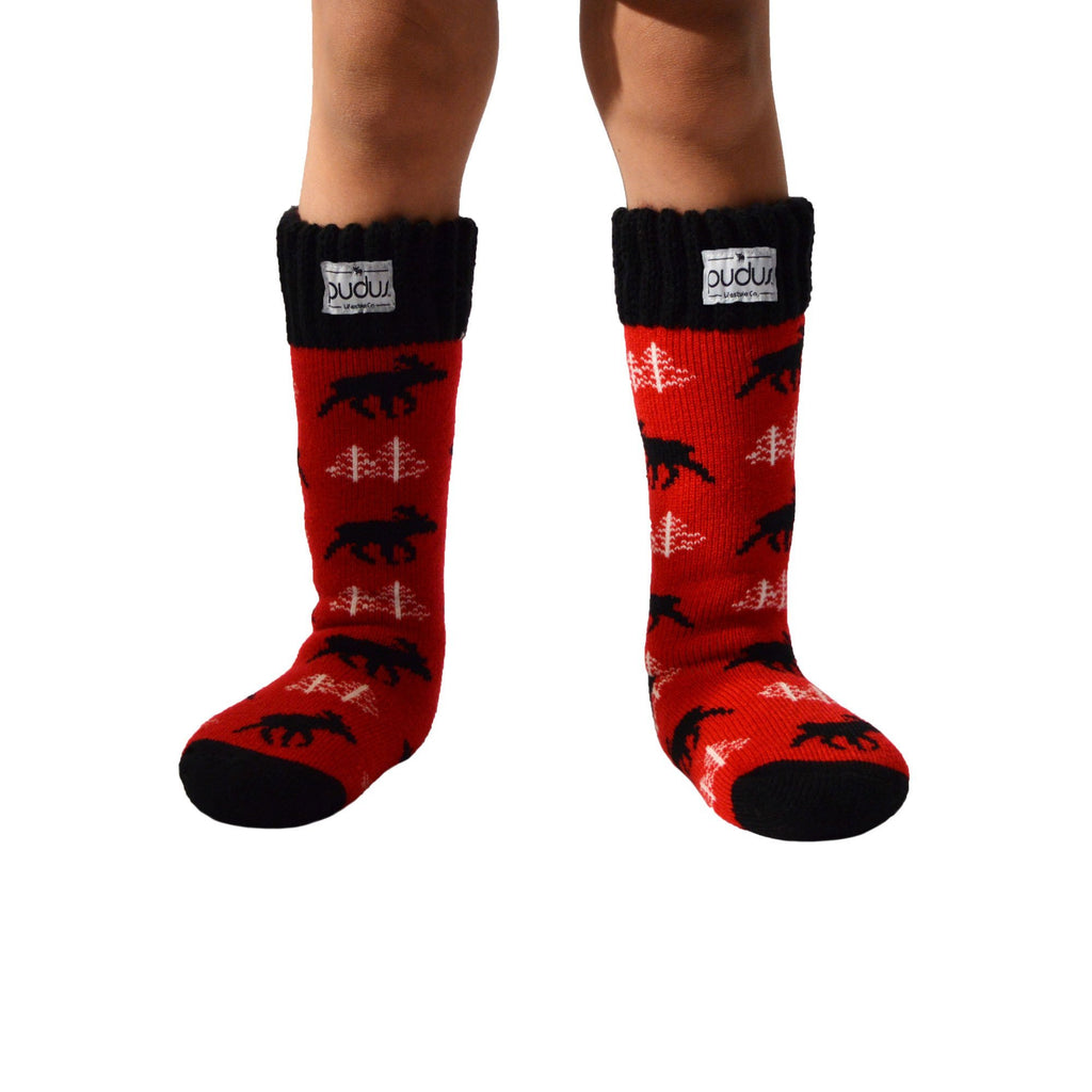 Pudus Kids Warm Boot Socks (Ages 4-7), Tall Winter Socks for Boys and Girls (Perfect Thermal Socks for Rain Boots, Snow Shoes and Hiking Boots) Boot Sock Moose Red Kid Tall