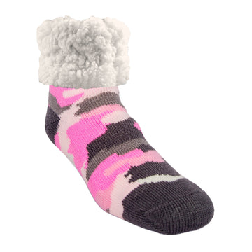 Pudus Classic Camo Pink slipper socks with grey heal and toe