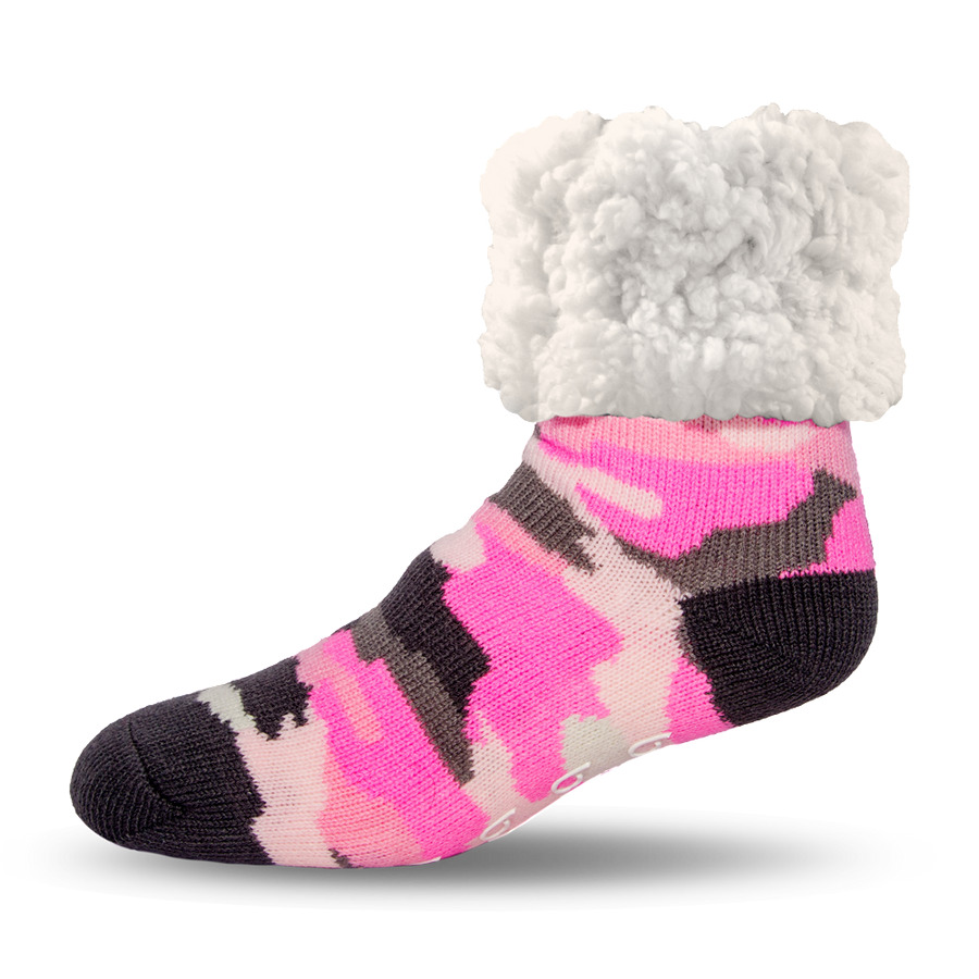 Pudus Cozy Winter Slipper Socks for Women and Men with Non-Slip Grippers and Faux Fur Sherpa Fleece - Adult Regular Fuzzy Socks Camo Pink - Classic Slipper Sock