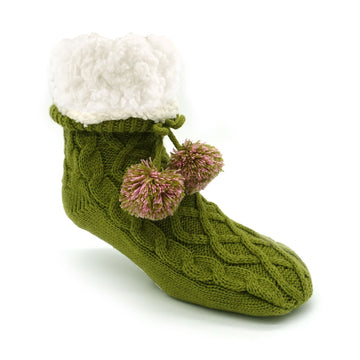 Pudus Winter Cable Knit Slipper Socks for Women and Men with Non-Slip Grippers and Faux Fur Sherpa Fleece Lining - Adult Regular Fuzzy Socks Cable Knit Green - Classic Slipper Sock