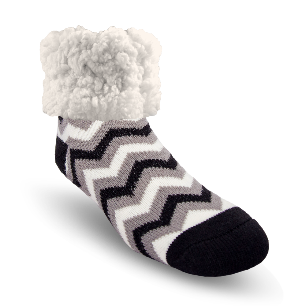 Classic Slipper Socks | Chevron Black