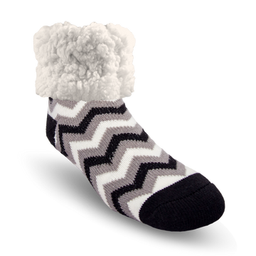 Pudus Cozy Winter Slipper Socks for Women and Men with Non-Slip Grippers and Faux Fur Sherpa Fleece - Adult Regular Fuzzy Socks Chevron Black - Classic Slipper Sock