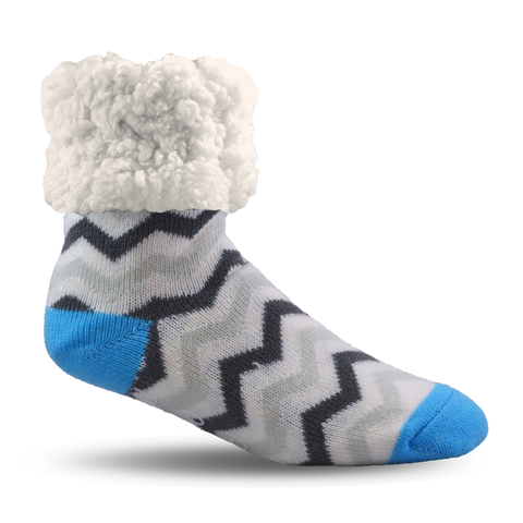 Classic Slipper Socks | Chevron Grey